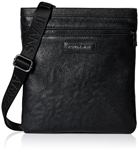 Armani Jeans Men's Pu Logo Patch Medium Shoulder Bag, (Armani Shoulder Bag)