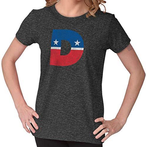 Brisco Brands Democrat Political American US Liberal Flag Ladies T Shirt Dark Heather