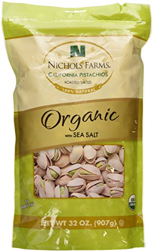 Nichols Farms California Pistachios Roasted Salted, Organic with Sea Salt, 32-ounce bag