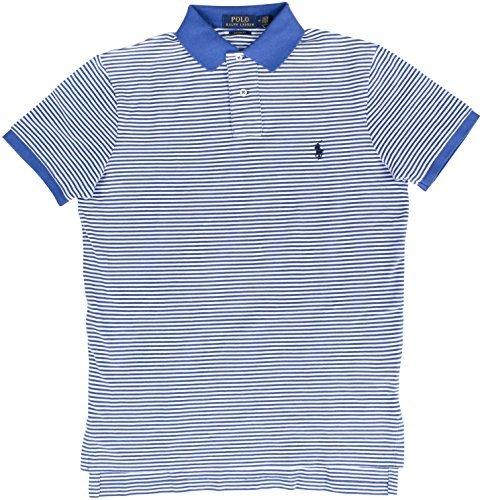 Polo Ralph Lauren Men's Striped Polo Shirt Custom Fit (M, White/Blue) (Ralph Lauren Striped Rugby Shirt)