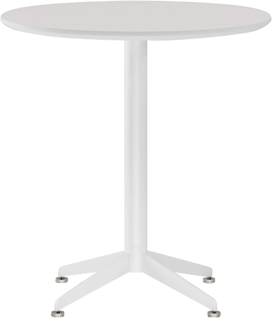 White Dining Table Round Small Office Table Conference Table Coffee Meeting Table For Office Boardroom Kitchen Living Room Waterproof Desktop Easy Assembly 27 5 Inch Home Kitchen Tables