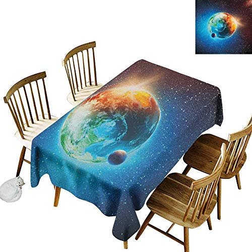 (DONEECKL Earth Colorful Tablecloth Protection Table Majestic Galaxy Outer Space View Universe with Planet Earth Stars Astral Theme Orange Blue Black W70 xL120)