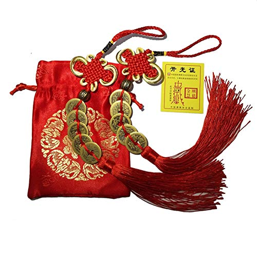 - DOYIFun Chinese Feng Shui Money Coins Lucky with Handmade Red Enless Knot Decoration for Wealth and Success Chinese New Year - 2 Sets of 5 Coins Office Decorations