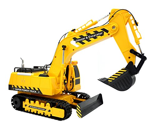 Transformania Toys RC Remote Control Excavator Construction Truck Toy for Kids with Lights and Sounds