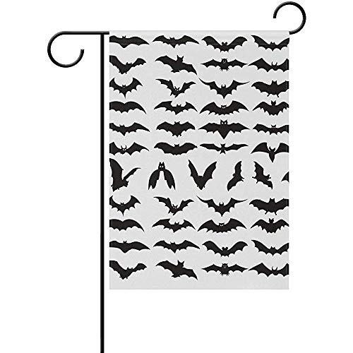 Johnnie Halloween Bat Clip Art Garden Yard Flag 12x18 inch,Decorative Double Sided Flags for Spring Summer Farm House Decoration -