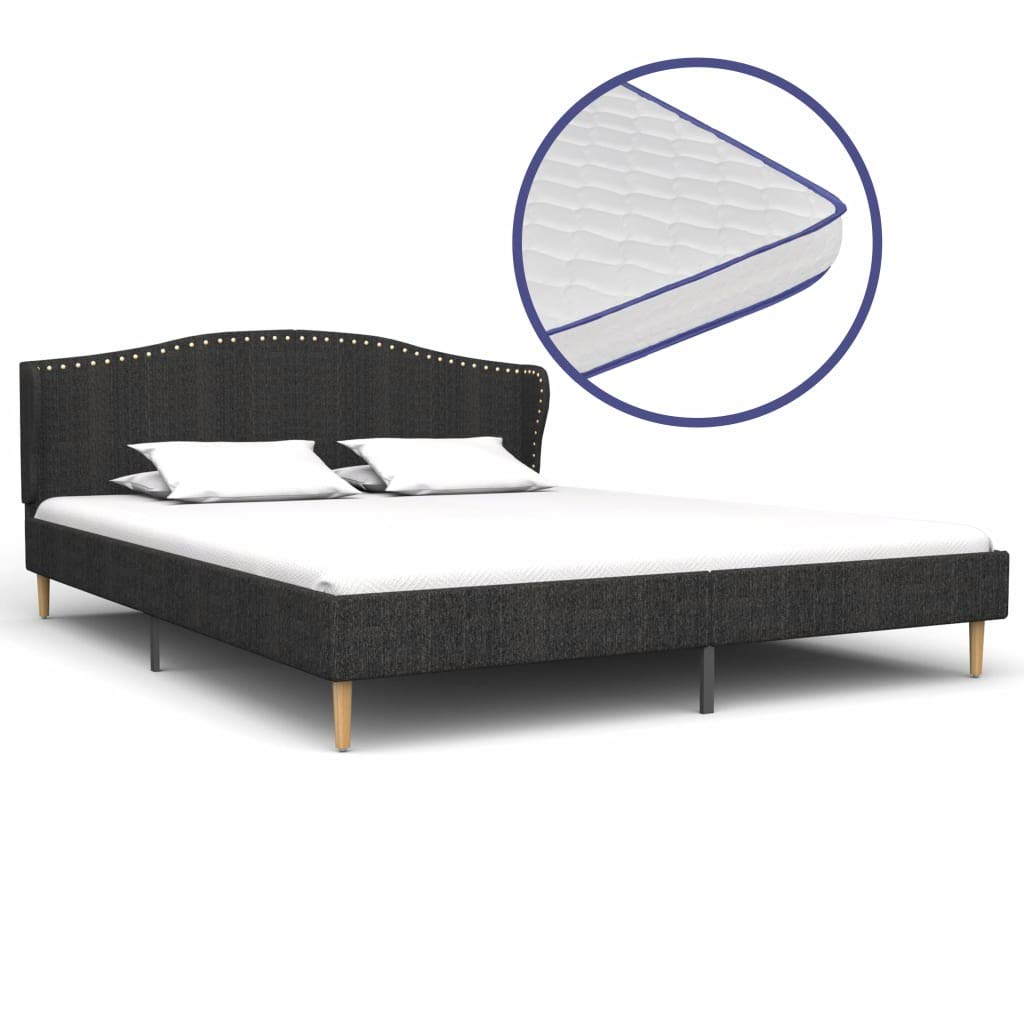vidaXL Bett mit Memory-Schaum-Matratze Polsterbett Doppelbett Stoffbett Schlafzimmerbett Bettgestell Bettrahmen Lattenrost Dunkelgrau Stoff 180x200cm
