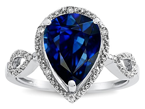 Star K Vintage Look Halo Large 11x8 Pear Shape Created Sapphire Ring 14 kt White Gold Size 4.5