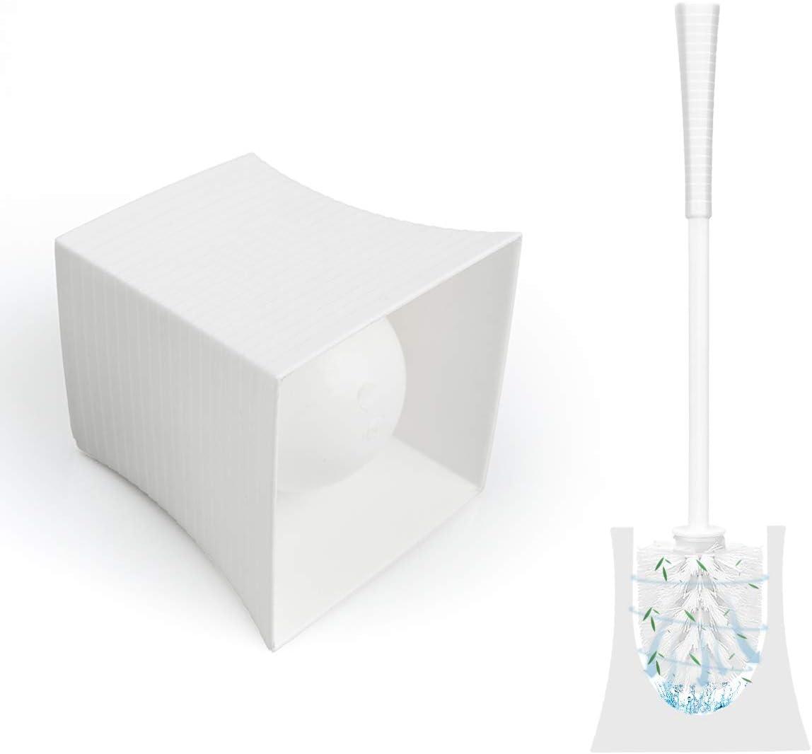 HW Plastic Toilet Brush Set Long handle Mini style Compact Toilet Brush and Holder Leak-Proof Bathroom Toilet Bowl Brush Deep Cleaning Modern Design White Flooring