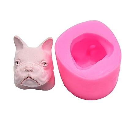 WXGY Aromaterapia Yeso Molde de Silicona 3D Cabeza de Perro en Forma de Colgante decoración del