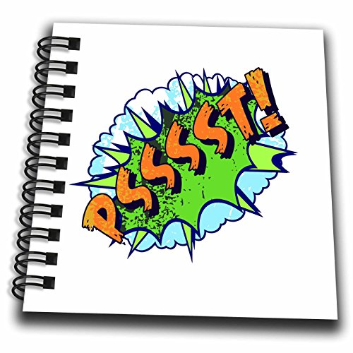 3dRose Russ Billington Designs - Silly Words- Psssst- Comic Book Typography in Blue Green and Yellow - Mini Notepad 4 x 4 inch (db_262236_3)