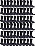 180 Pairs Case of Kids Sports Crew Socks, Wholesale Bulk Pack Sock for boys and girls, by WSD (Black, 4-6)
