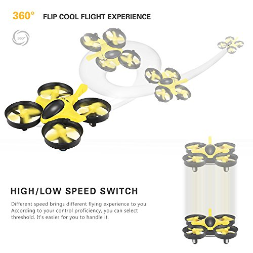 513zEQt%2BnzL GoolRC T36 Mini RC Quadcopter Drone 2.4G 4 Channel 6 Axis With 3D Flip Headless Mode One Key Return Nano Copters RTF Mode 2 With Bonus Battery(Yellow)
