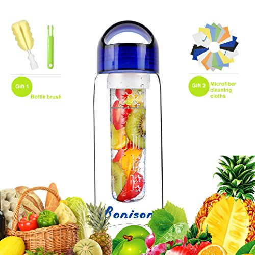 23 Oz Sporty Tritan Fruit Infuser Water Bottle,for Home,Hike,Camp,Sport,Office,School, Leak Proof,with Handle,for Fruit, Juice, Iced Tea, Lemonade & Sparkling Beverages-with 2 Gifts