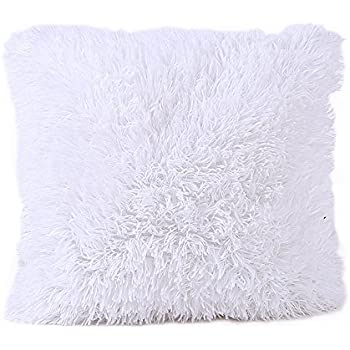 faux fur pillows amazon pillow black cover decorative super soft plush throw cushion case white shams
