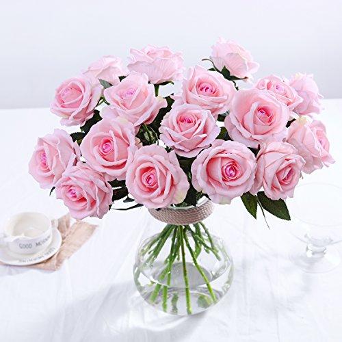 PARTY JOY Vintage Artificial Silk Rose Flower Bouquet Wedding Party Home Decor,Park of 10 (Long stem-Light ()