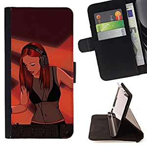 Dj Sexy Woman Girl Redhead Ginger Art Painting - Painting Art Smile Face Style Design PU Leather Flip Stand Case Cover FOR Samsung Galaxy S6 @ The Smurfs