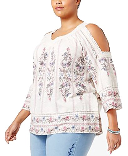 Style & Co. Plus Size Floral-Print Cold-Shoulder Top (Ivory, 1X) Style & Co . Floral Blouse