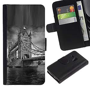 Planetar® Modelo colorido cuero carpeta tirón caso cubierta piel Holster Funda protección Para Samsung Galaxy S3 MINI / i8190 (Not For S3) ( Architecture London Bridge Black & White )