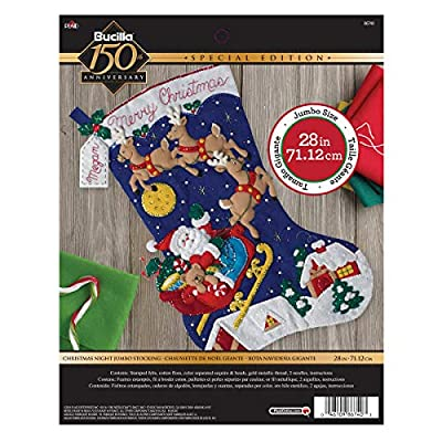 Bucilla 86740 Felt Applique Stocking Kit Christmas Night, Size 28-Inch