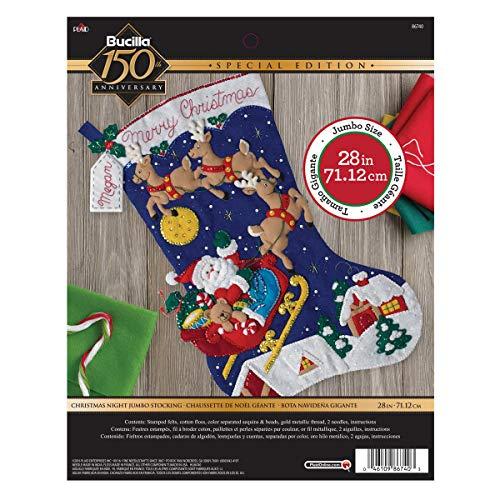 Bucilla 86740 Felt Applique Stocking Kit Christmas Night, Size 28-Inch,