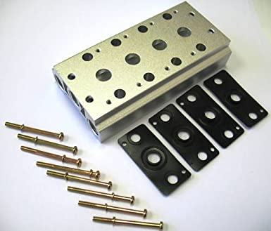 8 Rows Aluminum Pneumatic Manifold Solenoid For Air Pilot Valves 4V200 Series