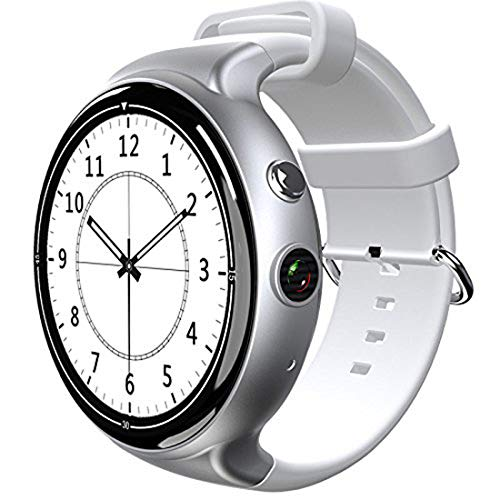 YIMOHWANG I4 Air Smartwatch Android 5.1 RAM 2GB ROM 16GB 2MP WIFI 3G GPS Heart Rate Monitor Bluetooth 4.0 MTK6580 Quad Core Smart Watch (Silver+white strap)