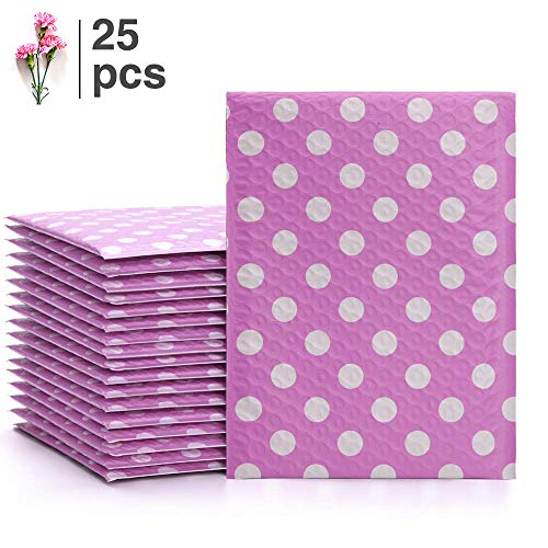 Fu Global #0 6x10 Inches Poly Bubble Mailers Padded Envelopes Pack of 25 (Pink dot, 6x10 inches)