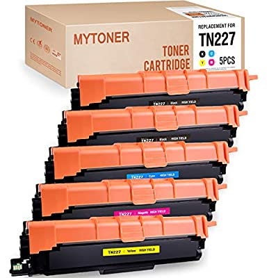 MYTONER Compatible Toner Cartridge Replacement for Brother TN227 TN-227 TN 227 TN227bk TN223 TN-223 Toner New CHIP (2 Black, 1 Cyan, 1 Magenta, 1 Yellow, 5-Pack)