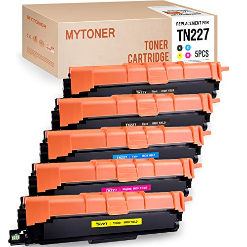 MYTONER Compatible Toner Cartridge Replacement for Brother TN227 TN-227 TN 227 TN227bk TN223 TN-223 Toner New CHIP (2 Black, 1 Cyan, 1 Magenta, 1 Yellow, 5-Pack) ()