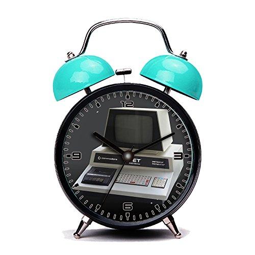 Blue Alarm Clock, Retro Portable Twin Bell Beside Alarm Clocks with Nightlight-249. Commodore 2001 (Commodore Clock)