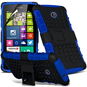 ONX3® Nokia Lumia 630 Tough Survivor Hard Rugged Shock Proof Heavy Duty Case With Back Stand + LCD Screen Protector Guard - Various Colours (Blue), [Importado de UK]
