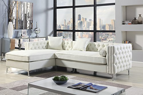 Iconic Home Da Vinci Left Hand Facing Sectional Sofa L Shape Chaise PU Leather Button Tufted with Silver Nailhead Trim Silvertone Metal Leg with 3 Accent Pillows, Modern Contemporary, Cream Left Chaise Couch