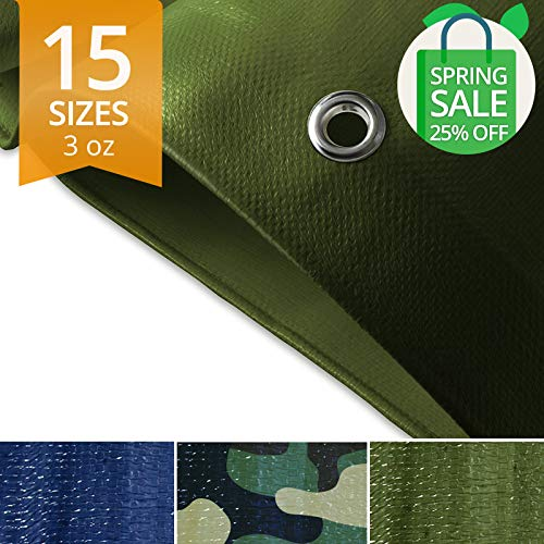 casa pura Tarps Waterproof | Ground Tent Trailer Cover | Large Tarpaulin in Multiple Sizes | 3 oz/Sq Yd | Multiple Colors