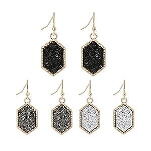 Colorful Faux Druzy Drop Earrings Hexagon Drusy Stone Jewelry Silver Plated Best Friend Christmas Earring