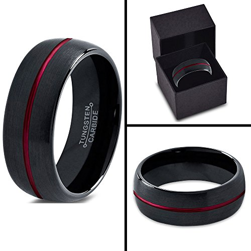 Tungsten Wedding Band Ring 10mm for Men Women Red Black Domed Brushed Polished Lifetime Guarantee