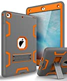 TOPSKY Case for New iPad 9.7 2018,iPad 6th/5th Generation Case,Three Layer Shockproof Armor Defender Protective Case Cover for Apple iPad 9.7 2017/2018 A1893 A1954 A1822 A1823,Grey Orange