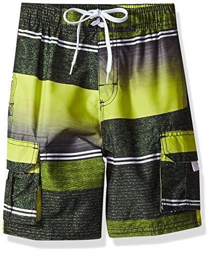 Kanu Surf Toddler Boys' YOLO Quick Dry Beach Swim Trunk, Sandbar Black/Yellow, 4T ()