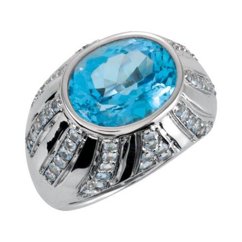 - Sterling Silver Oval Swiss Blue Topaz & Aquamarine Ring