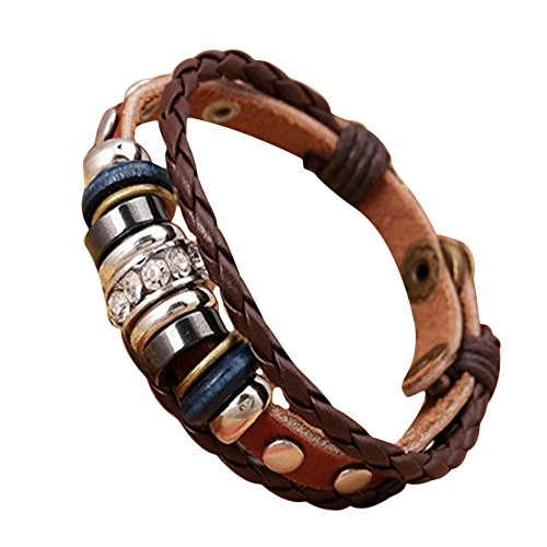 Susenstone Unisex Leather Bracelet Bangles Jewelry