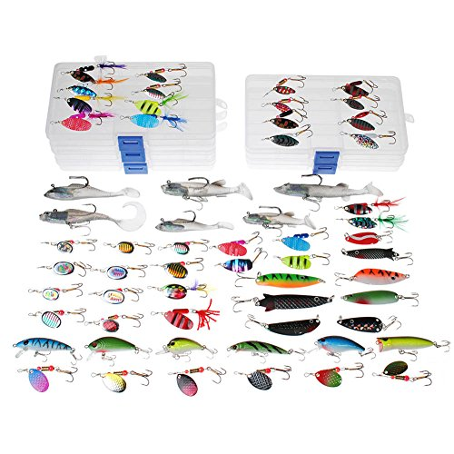 New-Year-Sale-DrFish-Assortted-5-Lure-Boxes-Loaded-60-Bass-Fishing-Baits-Spinners-Rooster-Tail-Trout-Spoons-Soft-Plastic-Shads-Crankbaits-Minnow-Popper-Lures-Variety-Kit
