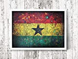 Ghana Flag, Hand-Painted Flag of Ghana, Distressed Flag, Vintage Mixed Media Art, Rustic, Industrial Style, Flag Painting