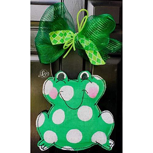 Polka Dot Frog Burlap Door Hanger- Frog Burlap Door Hanger-Spring Door Hanger- Spring Wreath-Frog Wreath-Door Decor