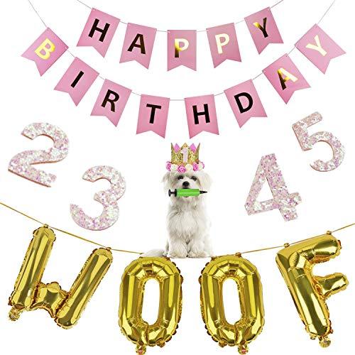 Legendog Dog Birthday Party Supplies Cat Birthday Hat Happy Birthday Balloons Banner Foil Balloons WOOF Letters Balloons for Dog Cat Birthday Decorations (Pink) ()