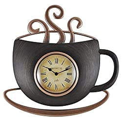 FirsTime Latte Cup Wall Clock in Bronze, Unique Design, Cute Steamy Mug Look, Durable, Uses One(1) AA Battery (NOT INCLUDED), Indoor
