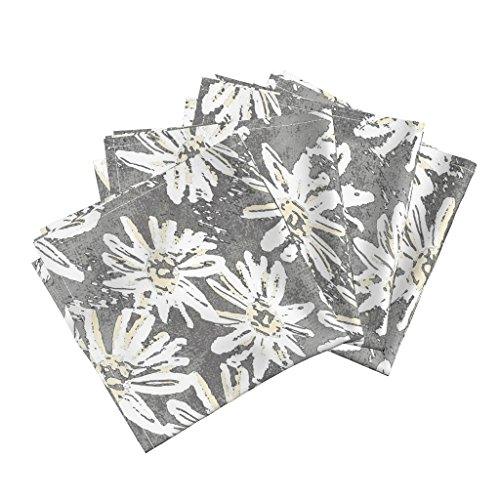 Roostery Daisy Organic Sateen Dinner Napkins Daisy Wash - Grey by Kristopherk Set of 4 Cotton Dinner Napkins Made