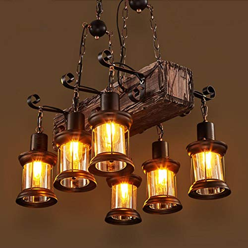 Country Style Chandelier (Joypeach 6 Heads Industrial Loft Style Countryside Vintage Wooden Chandelier Lamp For The Foyer / Coffee Room / Bar Decorate Pendant Lamp (110V))