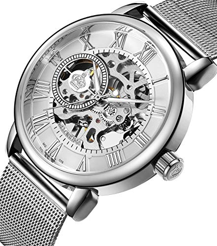 Sweetbless Wristwatch Men's Royal Classic Roman Index Hand-wind Mechanical Watch (silver-white)