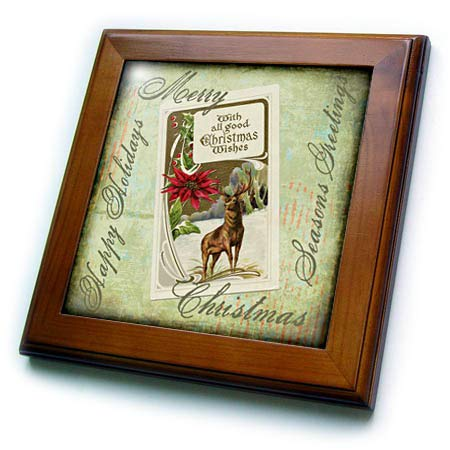 (3dRose Andrea Haase Holiday Illustration - Vintage Christmas Illustration with Stag Deer and Text - 8x8 Framed Tile (ft_291678_1))