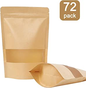 Moretoes 72pcs Kraft Stand Up Pouches, Zip Lock Stand Up Bags with Matte Window, Reusable, Heat-Sealable for Home or Business, 7×10 Inches