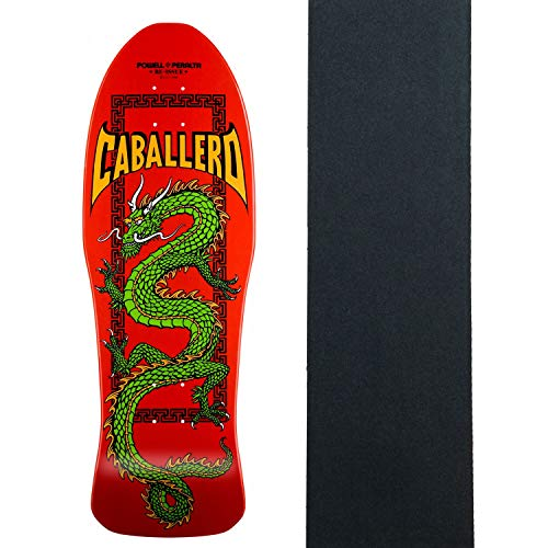 (Powell-Peralta Skateboard Deck Caballero Cab Chinese Dragon Red with Grip)